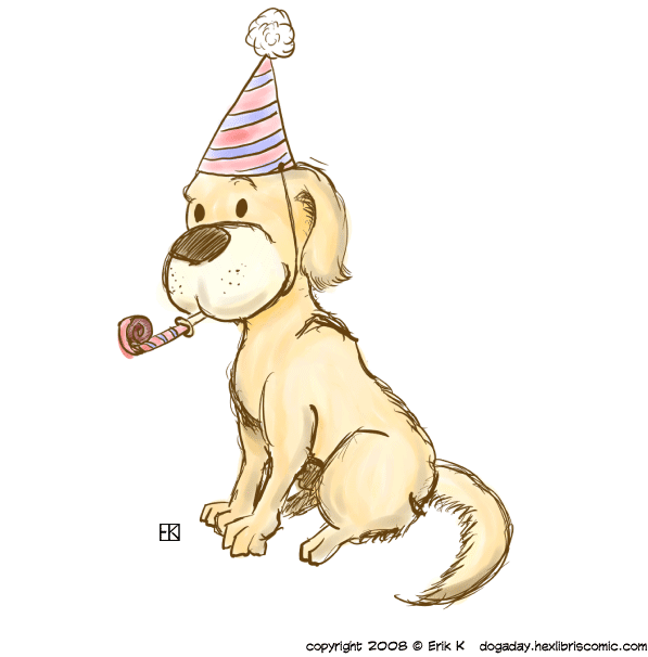 Golden retriever celebrating the new year, in ink and watercolor