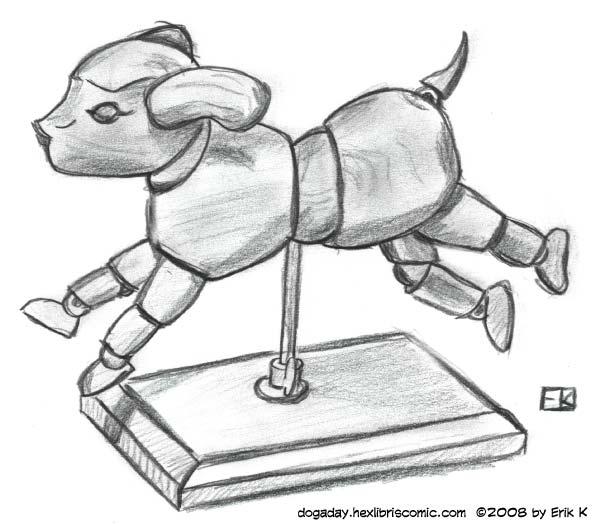pencil illustration of a dog mannequin