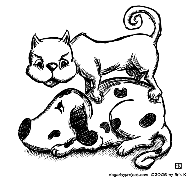 dog a day dally and cat illustration
