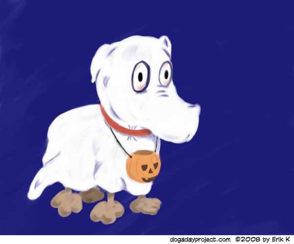 dog a day Bedsheet Ghost dog