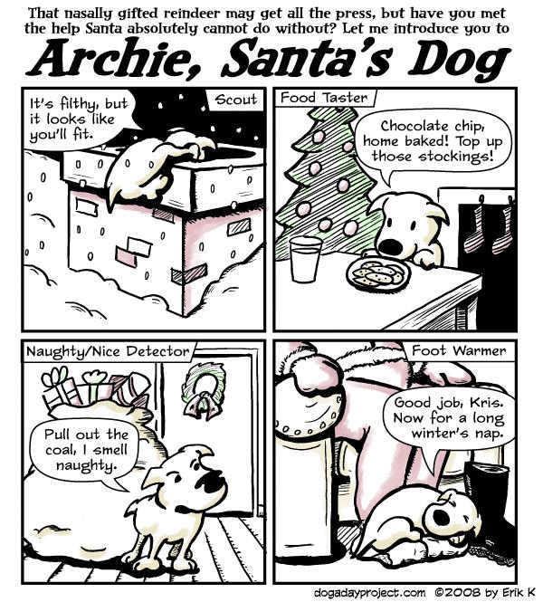 dog a day Archie, Santas Dog image