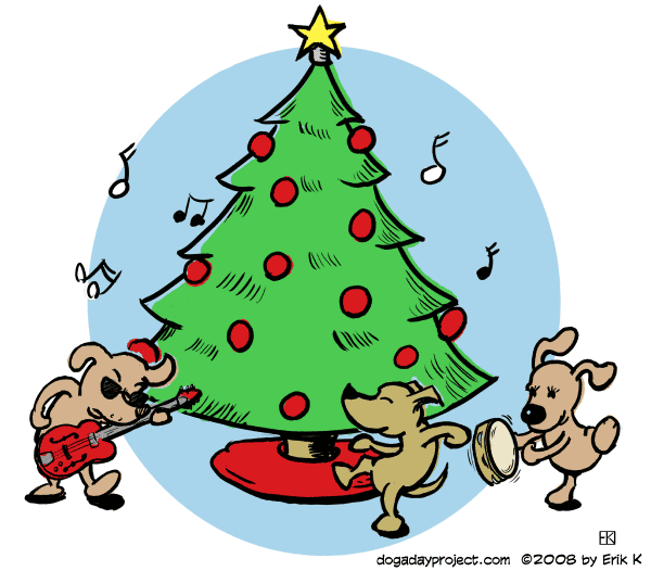 dog a day Rockin Around the Christmas Tree